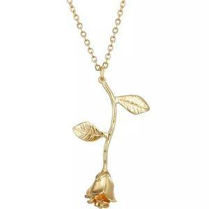 Gold Rosebud dangle necklace.